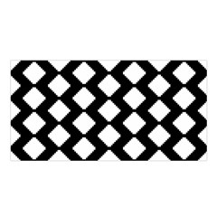 Abstract Tile Pattern Black White Triangle Plaid Satin Shawl