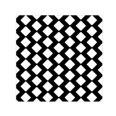 Abstract Tile Pattern Black White Triangle Plaid Small Satin Scarf (square) by Alisyart