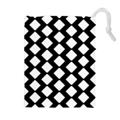 Abstract Tile Pattern Black White Triangle Plaid Drawstring Pouches (extra Large) by Alisyart