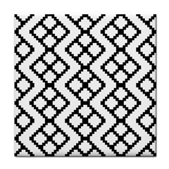 Abstract Tile Pattern Black White Triangle Plaid Chevron Tile Coasters by Alisyart