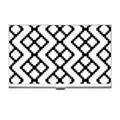 Abstract Tile Pattern Black White Triangle Plaid Chevron Business Card Holders by Alisyart