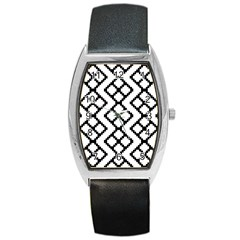 Abstract Tile Pattern Black White Triangle Plaid Chevron Barrel Style Metal Watch