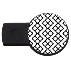 Abstract Tile Pattern Black White Triangle Plaid Chevron Usb Flash Drive Round (4 Gb) by Alisyart