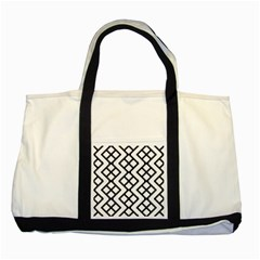 Abstract Tile Pattern Black White Triangle Plaid Chevron Two Tone Tote Bag