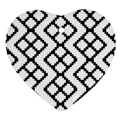 Abstract Tile Pattern Black White Triangle Plaid Chevron Heart Ornament (two Sides)