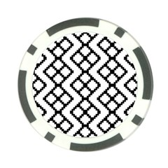 Abstract Tile Pattern Black White Triangle Plaid Chevron Poker Chip Card Guard