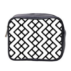 Abstract Tile Pattern Black White Triangle Plaid Chevron Mini Toiletries Bag 2 Side by Alisyart