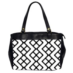 Abstract Tile Pattern Black White Triangle Plaid Chevron Office Handbags (2 Sides)