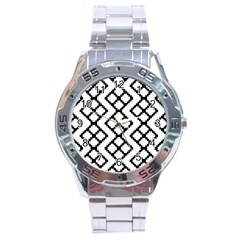 Abstract Tile Pattern Black White Triangle Plaid Chevron Stainless Steel Analogue Watch