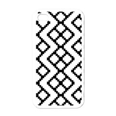 Abstract Tile Pattern Black White Triangle Plaid Chevron Apple Iphone 4 Case (white)