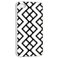 Abstract Tile Pattern Black White Triangle Plaid Chevron Apple Iphone 4/4s Seamless Case (white) by Alisyart