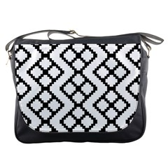 Abstract Tile Pattern Black White Triangle Plaid Chevron Messenger Bags