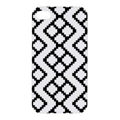 Abstract Tile Pattern Black White Triangle Plaid Chevron Apple Iphone 4/4s Premium Hardshell Case
