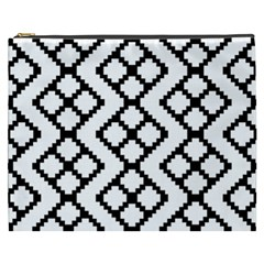 Abstract Tile Pattern Black White Triangle Plaid Chevron Cosmetic Bag (xxxl)