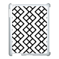 Abstract Tile Pattern Black White Triangle Plaid Chevron Apple Ipad 3/4 Case (white)