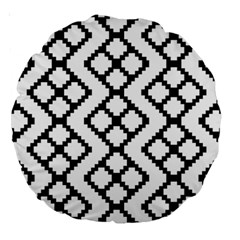 Abstract Tile Pattern Black White Triangle Plaid Chevron Large 18  Premium Round Cushions by Alisyart