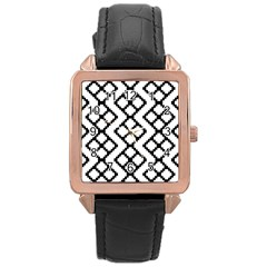 Abstract Tile Pattern Black White Triangle Plaid Chevron Rose Gold Leather Watch  by Alisyart