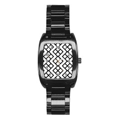 Abstract Tile Pattern Black White Triangle Plaid Chevron Stainless Steel Barrel Watch by Alisyart