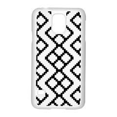 Abstract Tile Pattern Black White Triangle Plaid Chevron Samsung Galaxy S5 Case (white)