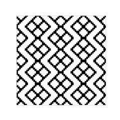 Abstract Tile Pattern Black White Triangle Plaid Chevron Small Satin Scarf (square)