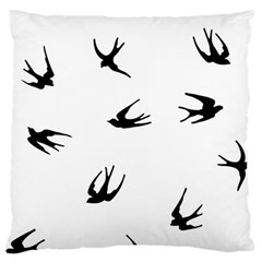 Black Bird Fly Sky Large Flano Cushion Case (two Sides)
