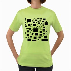 Blue Squares Textures Plaid Women s Green T Shirt