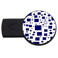 Blue Squares Textures Plaid Usb Flash Drive Round (2 Gb)