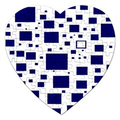Blue Squares Textures Plaid Jigsaw Puzzle (heart) by Alisyart