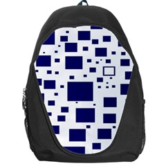 Blue Squares Textures Plaid Backpack Bag