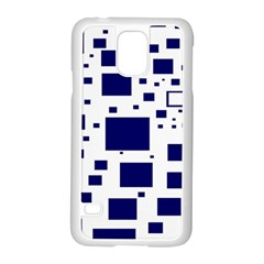 Blue Squares Textures Plaid Samsung Galaxy S5 Case (white)