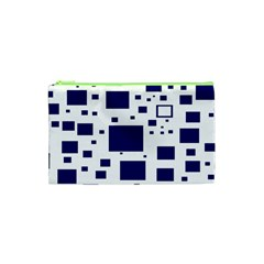 Blue Squares Textures Plaid Cosmetic Bag (xs) by Alisyart