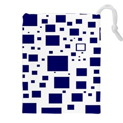 Blue Squares Textures Plaid Drawstring Pouches (xxl) by Alisyart