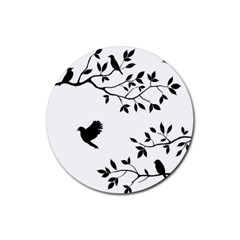 Bird Tree Black Rubber Coaster (round)