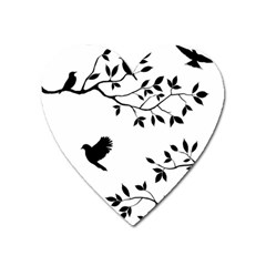 Bird Tree Black Heart Magnet by Alisyart