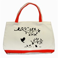 Bird Tree Black Classic Tote Bag (red) by Alisyart