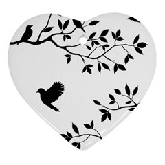 Bird Tree Black Heart Ornament (two Sides)