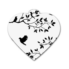 Bird Tree Black Dog Tag Heart (one Side)