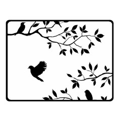 Bird Tree Black Double Sided Fleece Blanket (small)  by Alisyart