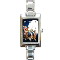 Christmas Reindeer Santa Claus Snow Night Moon Blue Sky Rectangle Italian Charm Watch by Alisyart