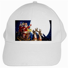 Christmas Reindeer Santa Claus Snow Night Moon Blue Sky White Cap by Alisyart