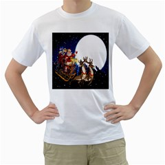 Christmas Reindeer Santa Claus Snow Night Moon Blue Sky Men s T Shirt (white) (two Sided)