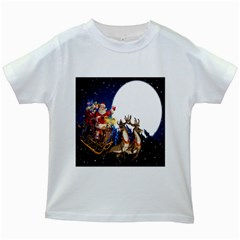 Christmas Reindeer Santa Claus Snow Night Moon Blue Sky Kids White T Shirts by Alisyart