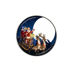 Christmas Reindeer Santa Claus Snow Night Moon Blue Sky Hat Clip Ball Marker (4 Pack)
