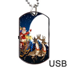 Christmas Reindeer Santa Claus Snow Night Moon Blue Sky Dog Tag Usb Flash (two Sides)