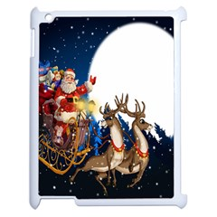 Christmas Reindeer Santa Claus Snow Night Moon Blue Sky Apple Ipad 2 Case (white)