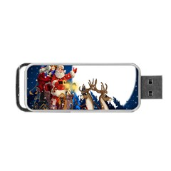 Christmas Reindeer Santa Claus Snow Night Moon Blue Sky Portable Usb Flash (one Side)