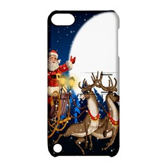 Christmas Reindeer Santa Claus Snow Night Moon Blue Sky Apple Ipod Touch 5 Hardshell Case With Stand