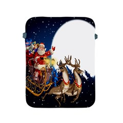 Christmas Reindeer Santa Claus Snow Night Moon Blue Sky Apple Ipad 2/3/4 Protective Soft Cases by Alisyart
