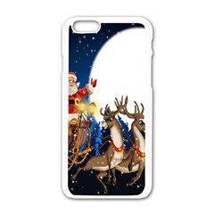Christmas Reindeer Santa Claus Snow Night Moon Blue Sky Apple Iphone 6/6s White Enamel Case