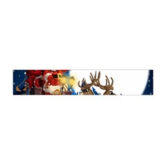 Christmas Reindeer Santa Claus Snow Night Moon Blue Sky Flano Scarf (mini)